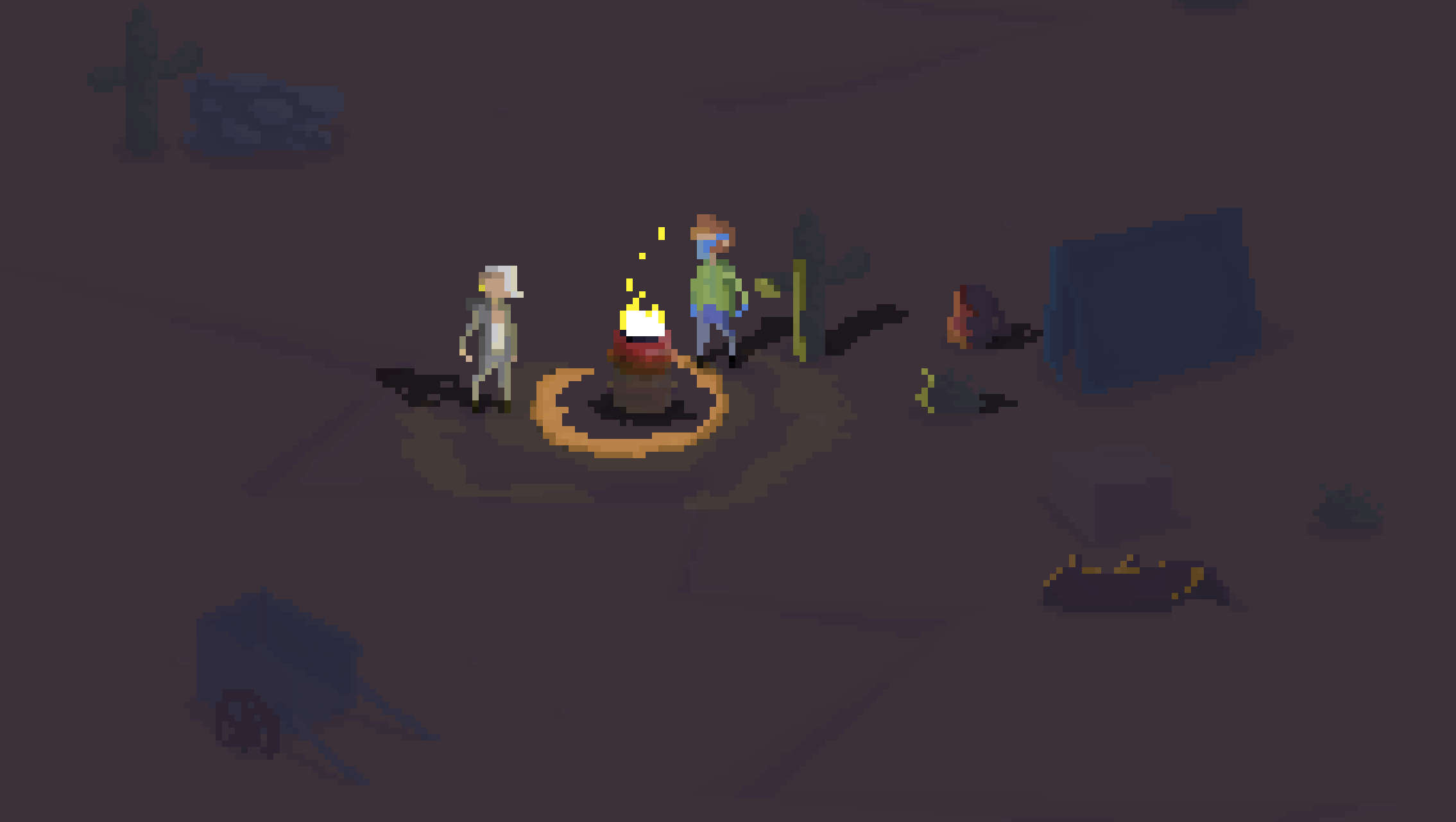 Two wasteland travelers are standing around a campfire.